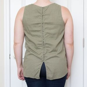 Olive Button-Back Linen Top